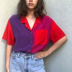 [vintage] color block silk button blouse